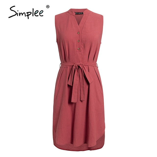 Simplee Sleeveless women spring dress Elegant v neck solid single breasted mini dress Summer lady cotton chic belt office dress