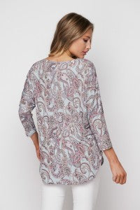 Gemma Paisley Top in Sky Blue