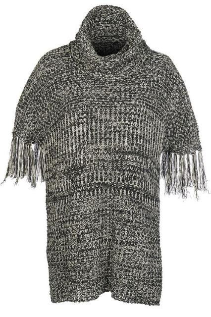 cf4c11d6c4998 Fringed Sleeve Knit Sweater in Marled Black and White