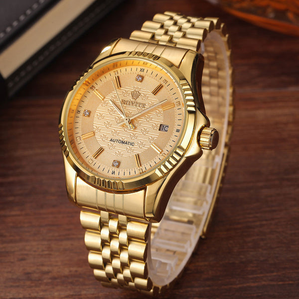 Luxury Gold Fashion Men Watches  Stainless Steel Automatic Mechanical - Star Bright Jewelry
