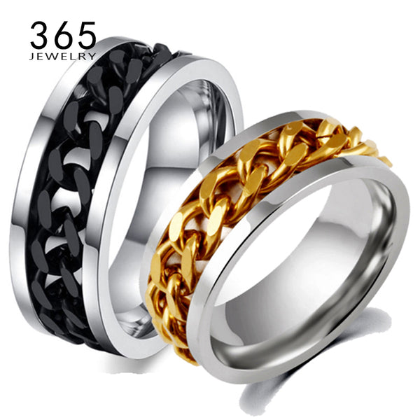 Stainless Steel Mens Gold Titanium Black Chain Spinner Rings For Men - Star Bright Jewelry