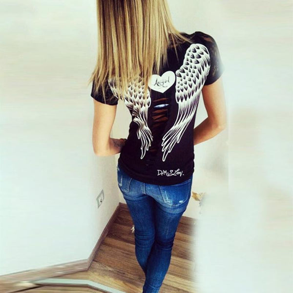Slim Style Women Short Sleeve O-neck Shirt Hollow Back Angel Wings Lace T-shirt - Star Bright Jewelry