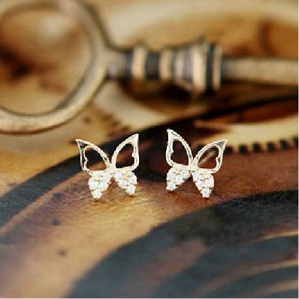Jewelry Sparkling Rhinestone Butterfly Hollow Stud Earrings For Women - Star Bright Jewelry