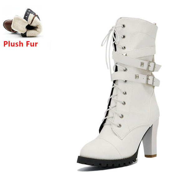 Women boots High heels Platform Buckle Zipper Rivets Lace up Leather boots - Star Bright Jewelry