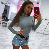 Cotton long sleeve high neck skinny bodysuit  autumn winter women black gray solid sexy body suit - Star Bright Jewelry