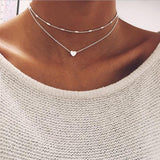DOUBLE HORN PENDANT HEART NECKLACE GOLD  Necklace Women Phase Heart Necklace - Star Bright Jewelry