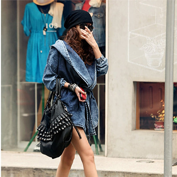 women's Long Sleeves Denim Trench Coat Medium-long Hooded Outerwear Jean Jacket - Star Bright Jewelry