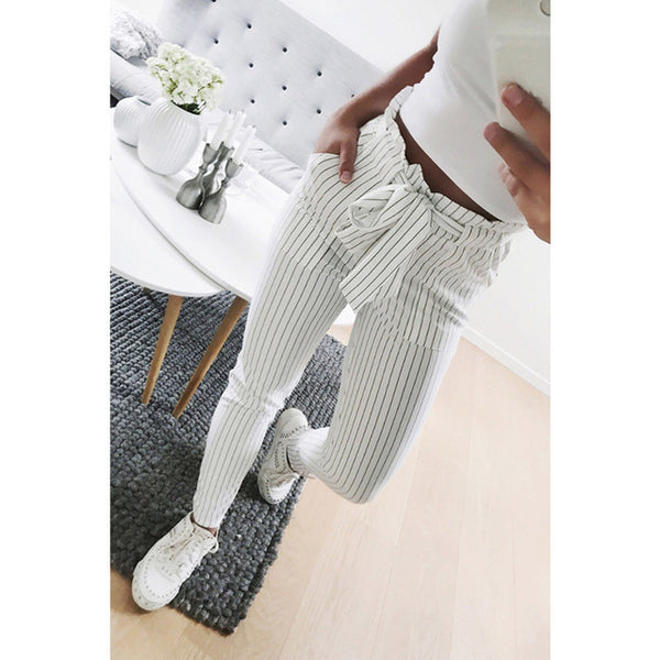 2018 New Striped chiffon high waist harem pants women summer style casual pants female trousers - Star Bright Jewelry