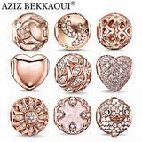 Rose Gold Crystal Beads Fit Pandora Bracelet Necklace Heart Charms - Star Bright Jewelry