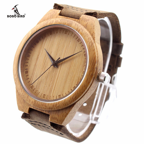 Natural Bamboo Wood Casual Quartz Watches Real Leather Strap In Gift Box - Star Bright Jewelry