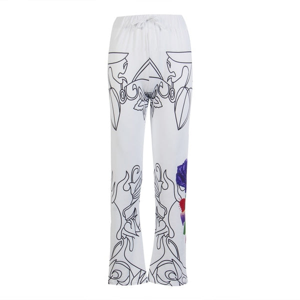 New Fashion Brand Sexy Women Casual Floral Printed Wide Leg Pants