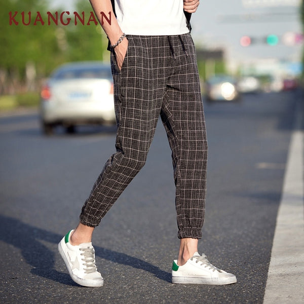 Casual Plaid Ankle-Length Pants