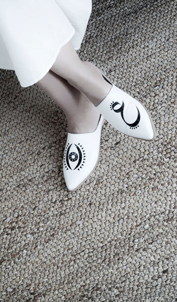 EYE KOHOL - High Quality Handmade White Leather Sandals