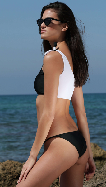 SIDE BY SIDE TOP BIKINI BLACK & WHITE