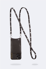 Sarah Pebble Leather Crossbody Bandolier - Black/Silver