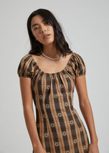Poppy Check Dress In Black And Tan