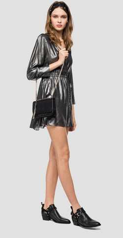 REPLAY V-NECK DRESS WITH SATIN EFFECT