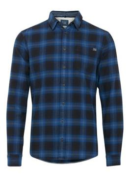 Blend Flannel Check Shirt Navy Blue Black - chapter-clothing.com