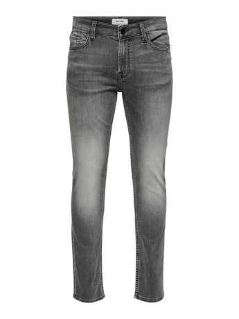 Only and Sons Loom Slim Stretch Jeans Light Grey