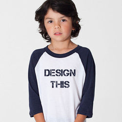 Custom American Apparel Youth  Navy, Red & Black Raglan Baseball Tee