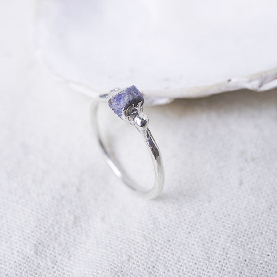 Raw Sapphire Solitaire Ring