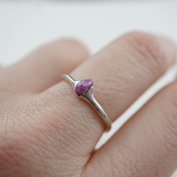 Ruby Solitaire Silver Ring