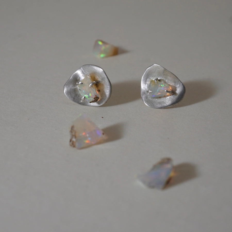Opal Silver Stud Earrings