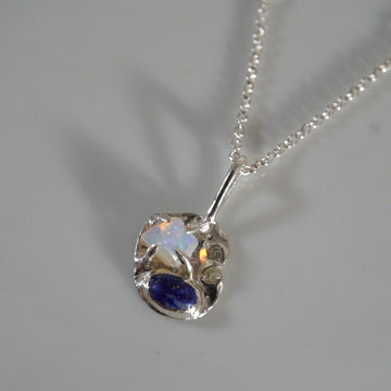 Multistone Silver Necklace