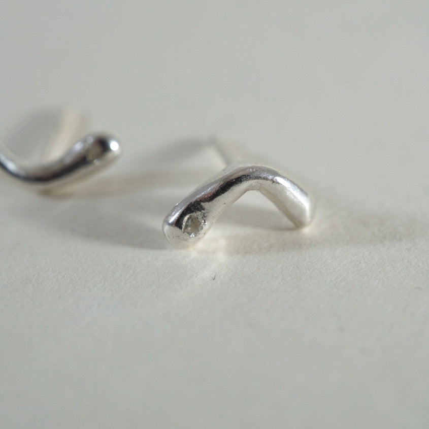 Recycled Diamond Silver Studs