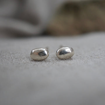 Silver Oval Stud Earrings