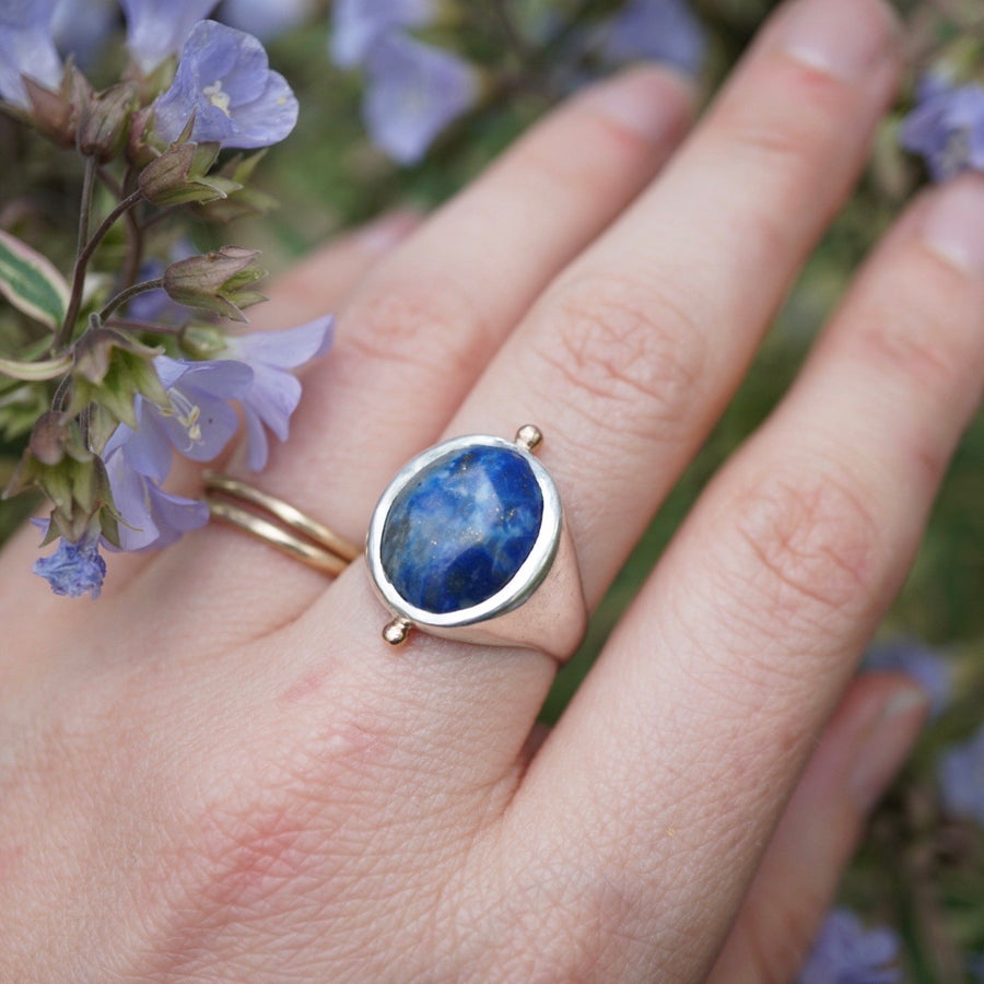 Chilean Lapis Signet Ring Mixed Metal