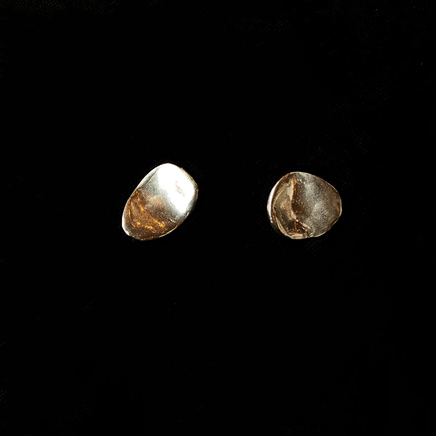 Uneven Silver Stud Earrings
