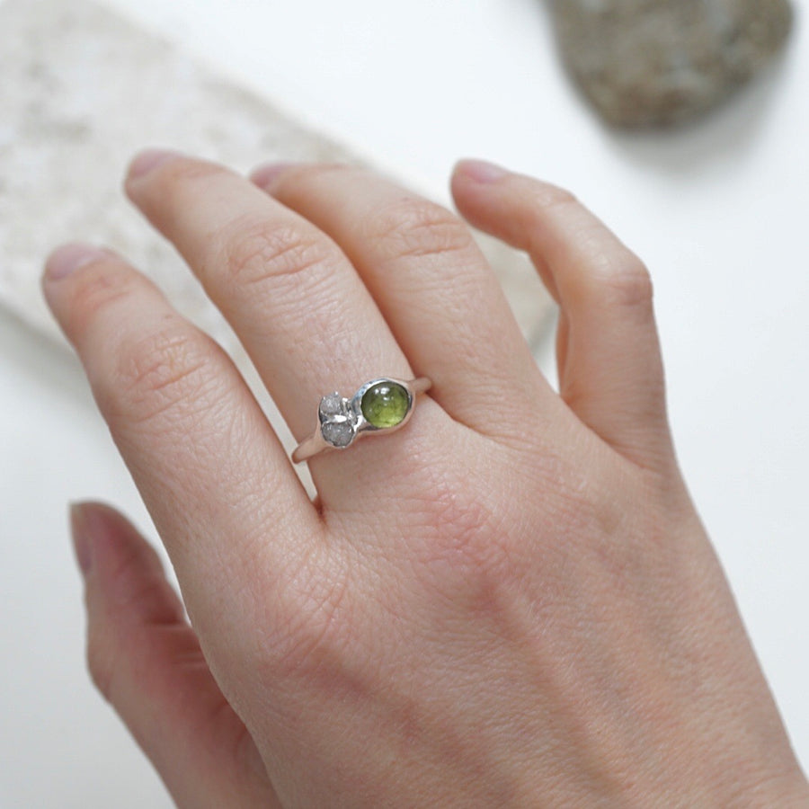 Peridot and raw diamond fine silver cluster ring
