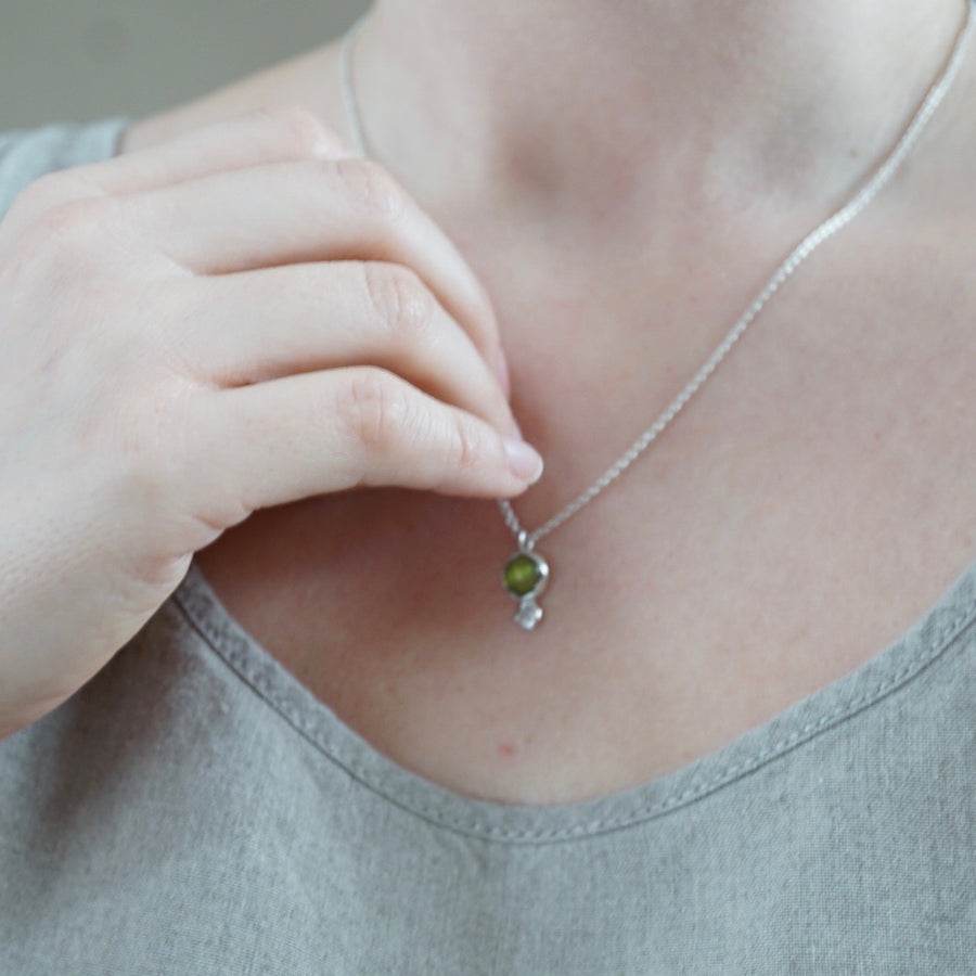 Peridot and White Sapphire Necklace