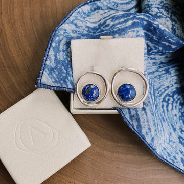 Imperfect Lapis Lazuli Stud Earrings