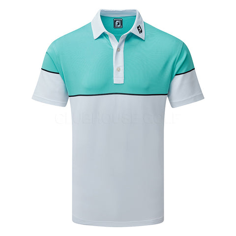 FootJoy stretch colour block pique white with aqua and black shirt