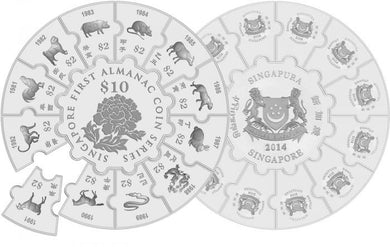 A Chance To Win 2014 Singapore 13-in-1 8 oz Silver Puzzle Proof-Like Set