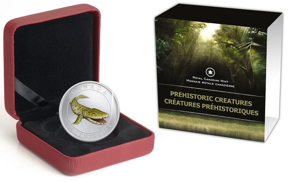 A Chance To Win 2014 25c Prehistoric Creatures: Tiktaalik - Glow-in-the-Dark Coloured Coin