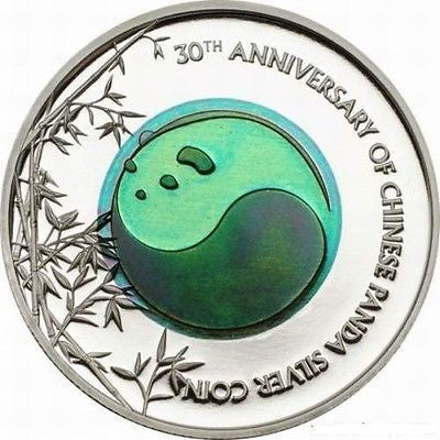 2013 Palau $2 Silver Niobium 30th Anniversary of China Panda