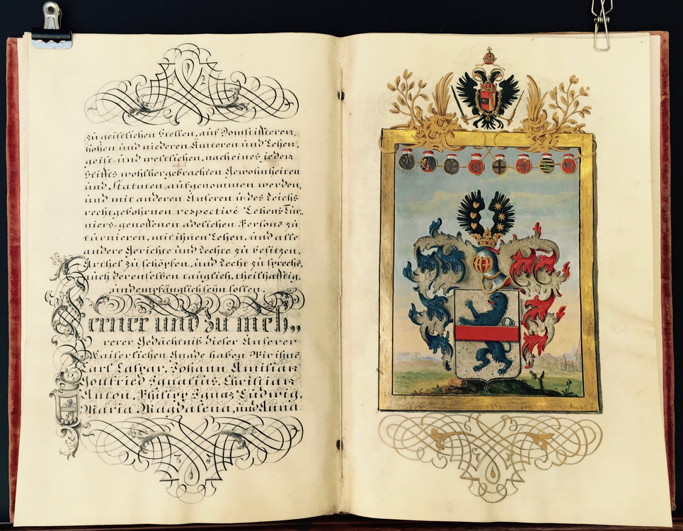 Master work of Calligraphy with an autograph of emperor Joseph II.