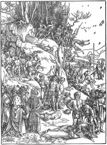 Albrecht Durer martyrdom of the ten thousand woodcut