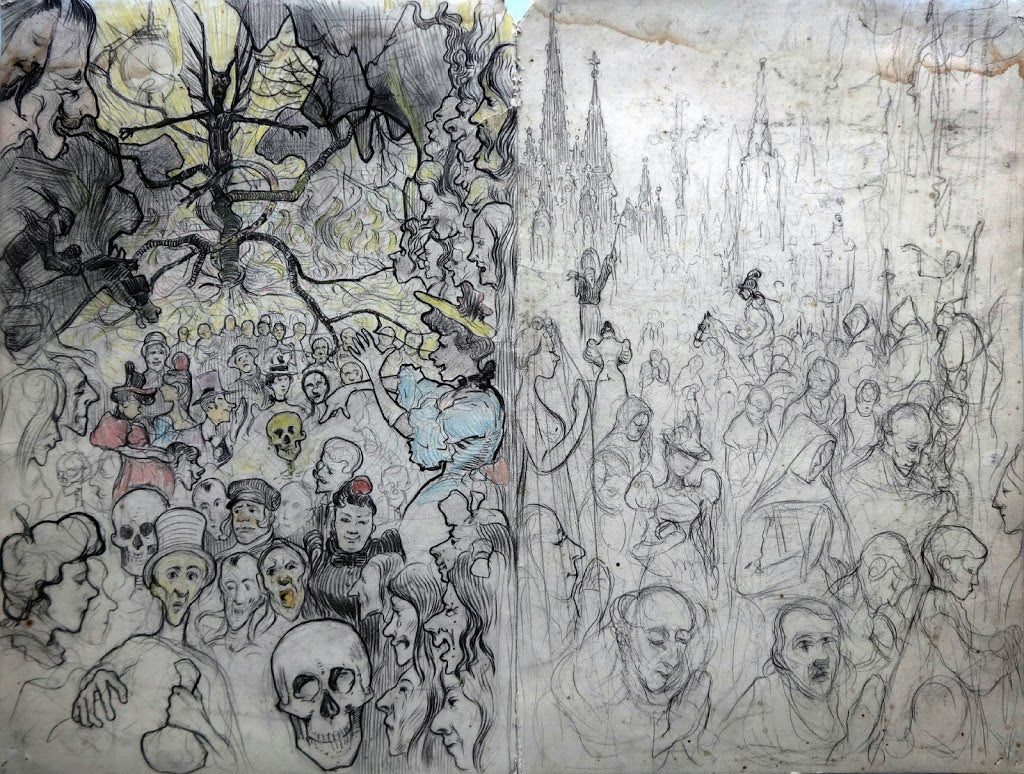 Last Judgement diptych Old Master Drawing
