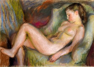 drawing pastel sleeping nude model