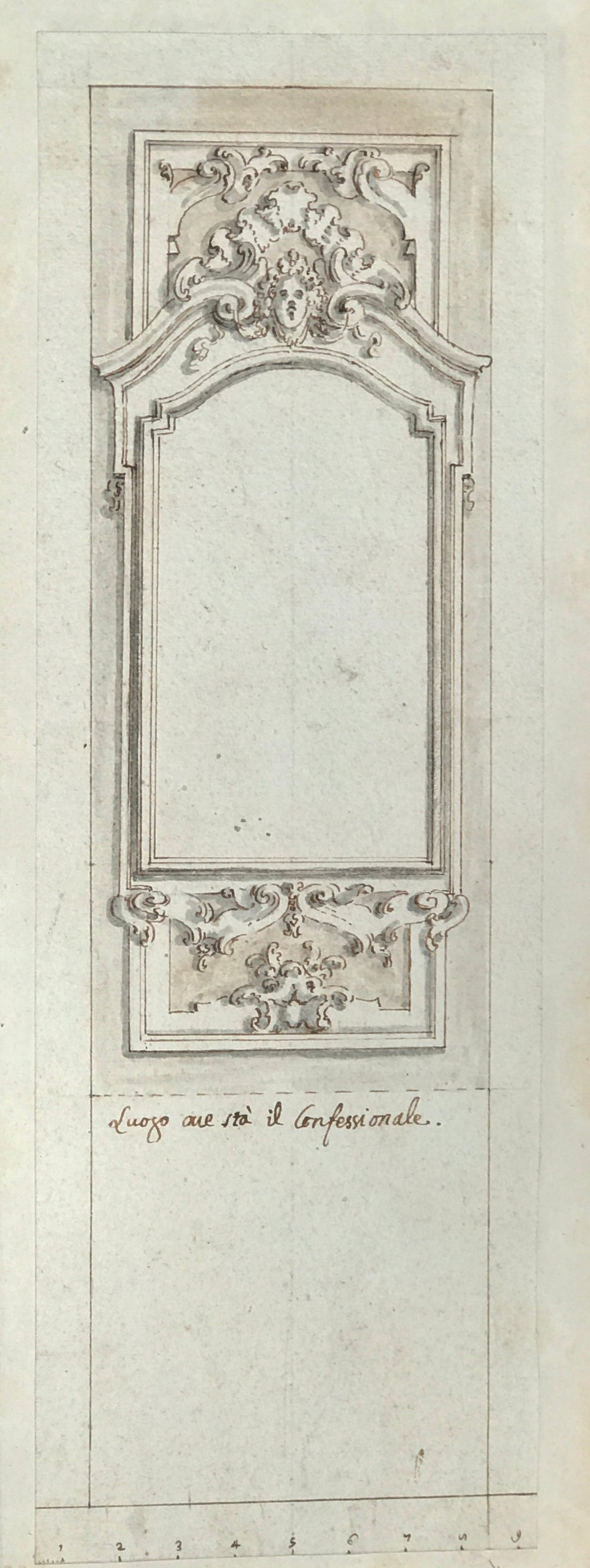 18th century project drawing for a confessional.