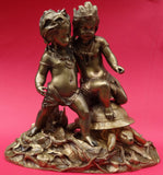 AFRICA AND AMERICA STATUETTE CHERUBS AND A TURTLE Bronze Statue