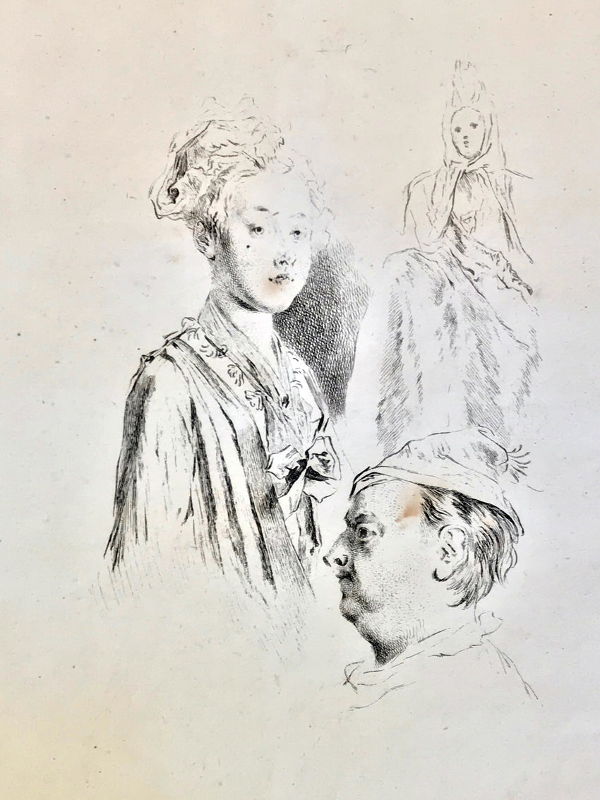 Print after Antoine Watteau study for three heads