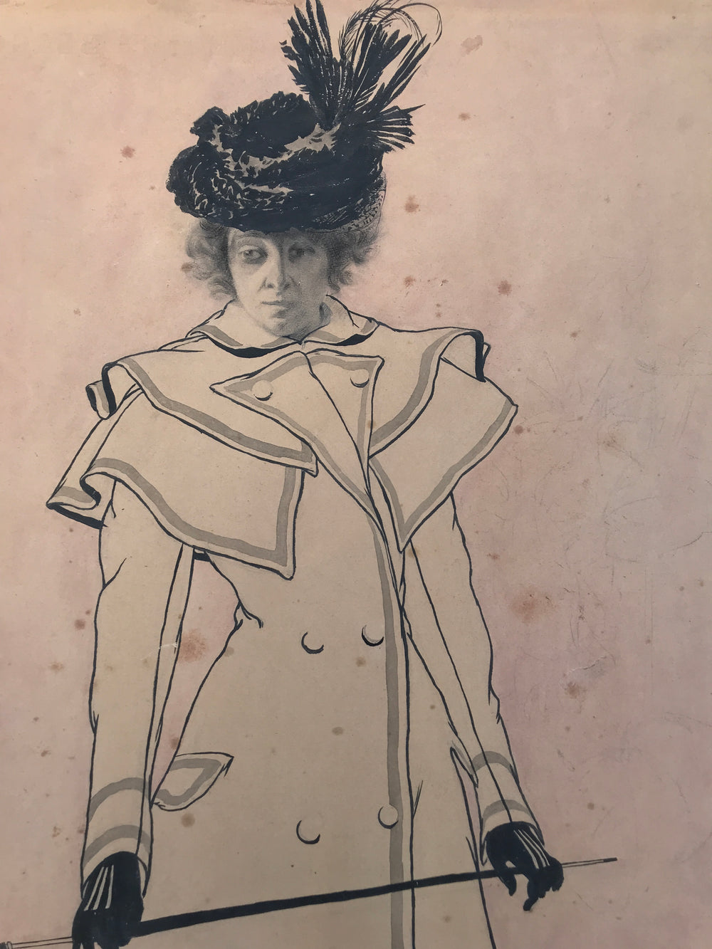 Albert SILVESTRE - Art-Nouveau Drawing of a standing woman