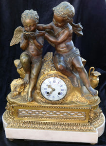 Aubert & Klaftenberger a Geneve gilt bronze clock