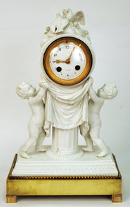 GILT-BRONZE MOUNTED PARIS BISCUIT MANTEL CLOCK LATE LOUIS XVI