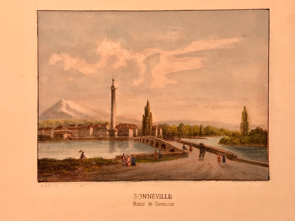 Bonneville Route de Chamonix, Hand colored lithograph